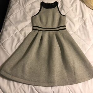 Gray Pleated Above the Knee Dress